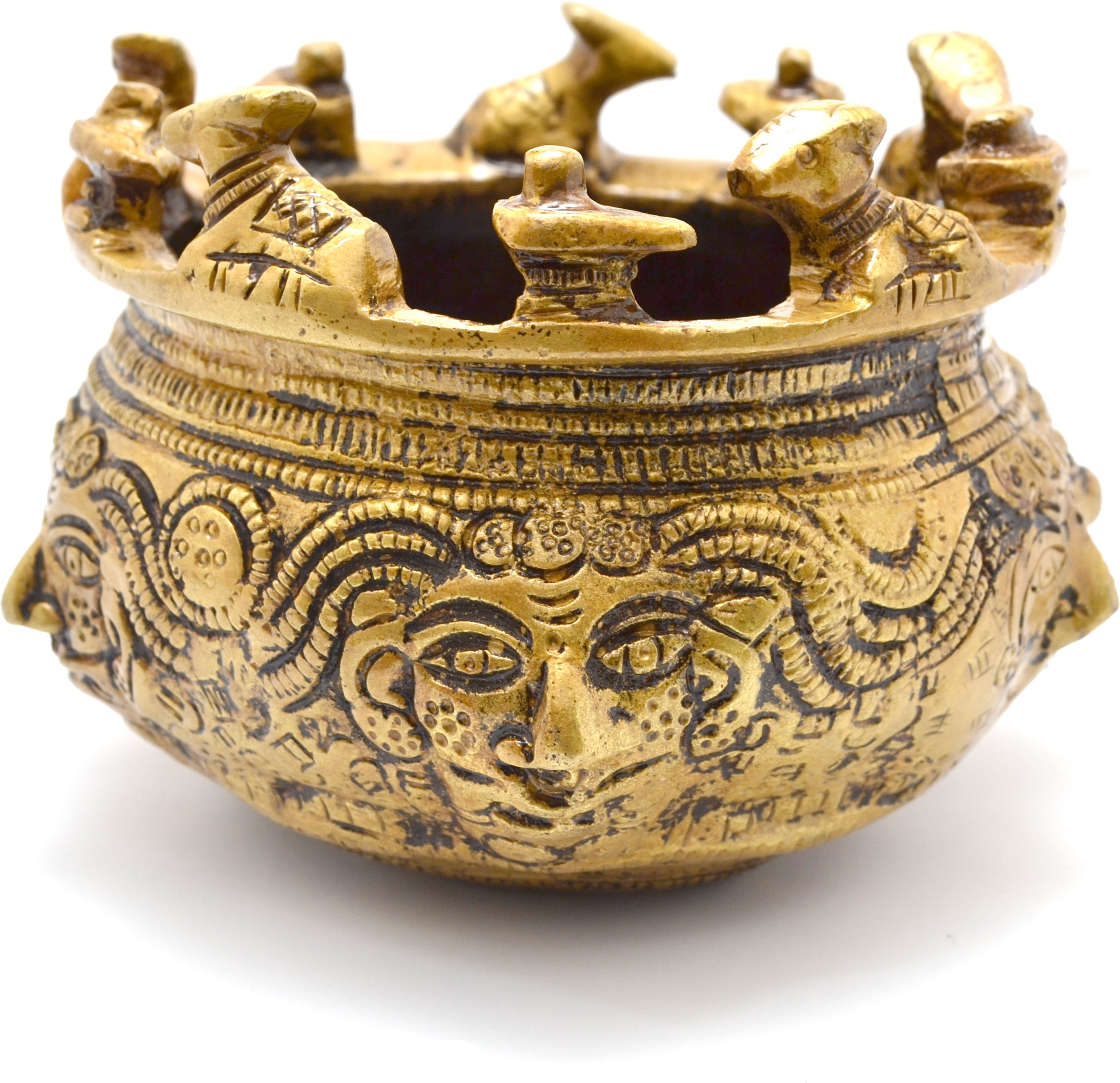 Handecor Sacred Nandi Brass Kalash(Height: 3.5 inch, Gold)