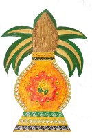 Craftszilla Handmade Ganesha Kalash Wooden Kalash(Height: 14.5 inch, Orange)