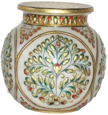 Craft International Marble Kalash(Height: 5 inch, White, Gold, Green, Red)