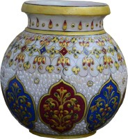 eCraftIndia Floral Pot Marble Kalash(Height: 5.5 inch, Multicolor)