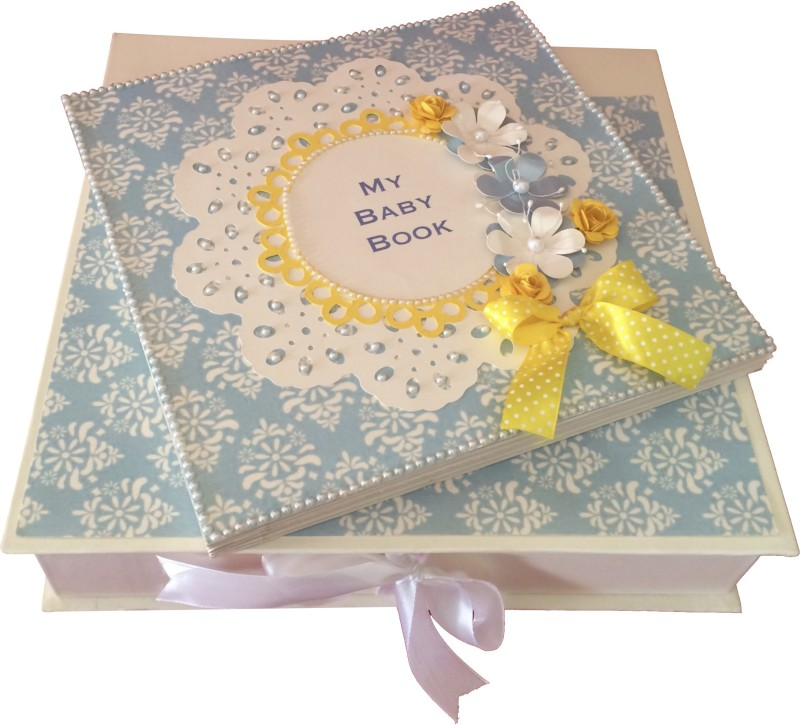 Crack of Dawn Crafts Baby Scrapbook Record Book/ Gift - 10 topics Keepsake(Blue and Yellow)