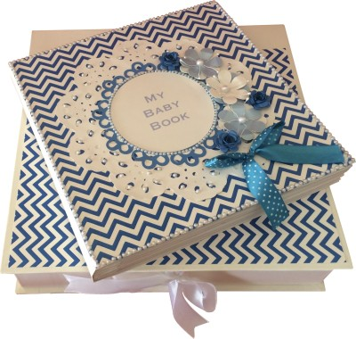 Crack of Dawn Crafts Baby Scrapbook Record Book/ Gift - 10 topics Keepsake(Blue)