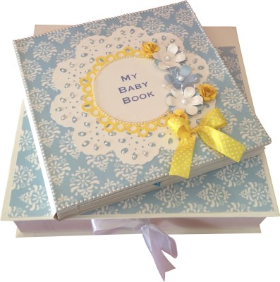 Crack of Dawn Crafts Baby Scrapbook Record Book/ Gift- 18 topics Keepsake(Blue and Yellow)