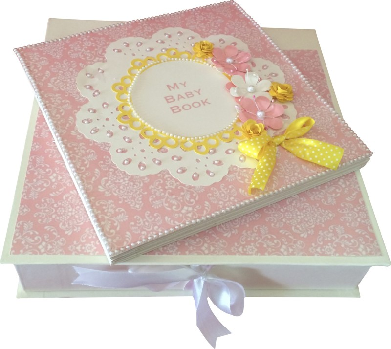 Crack of Dawn Crafts Baby Scrapbook Record Book/ Gift- 18 topics Keepsake(Pink and Yellow)