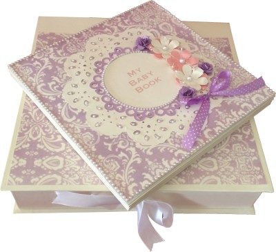 Crack of Dawn Crafts Baby Scrapbook Record Book/ Gift- 10 topics Keepsake(Pink and Lavender)