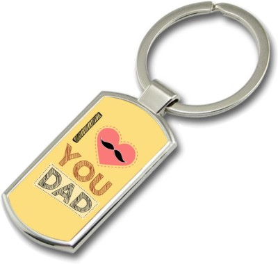 SKY TRENDS I Love You Dad With Pink Heart And Mustaches Gifts For Father,s Day Rectangle Metal Key Chain
