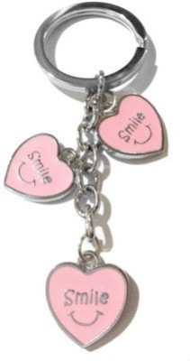 Gade Heart Shape Pink Colour Smiley Key Chain