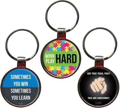 QuoteSutra Achievers Set of 3 Quote Metal Key Chain