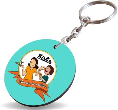 SKY TRENDS Sister You Are In A Million..Color Shade See Green Gifts For Happy Rakshabandhan Wood Circle Key Chain