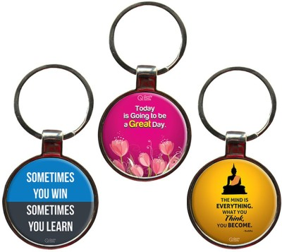 QuoteSutra Motivate Set of 3 Quote Metal Key Chain