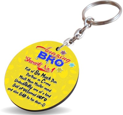 SKY TRENDS Amazing Brother Sharati No 1 Full Yellow Gifts Brother And Sister Rakshabandhan Wood Circle Key Chain