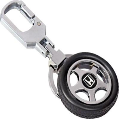 Knowket Honda Logo Premium Quality Rotating Wheel Tyre Metal Locking Key Chain
