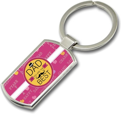 SKY TRENDS Dad You Are The Best With Yellow Background Gifts For Father,s Day Rectangle Metal Key Chain