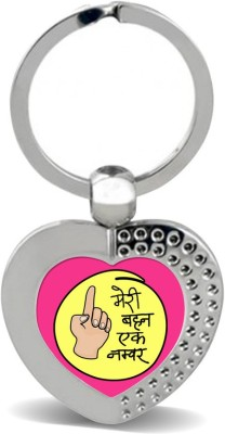 SKY TRENDS Meri Behan Ek Number With Show In Hand Yellow Round & Pink Color Gifts For Brother And Sister For Happy Rakshabandhan Metal Heart Key Chain
