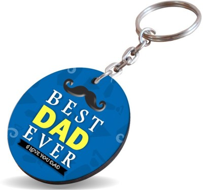 SKY TRENDS GIFT Best Dad Ever I Love You Dad With Round Mustaches Special Gifts For Dad For Father's Day Key Chain