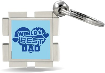 SKY TRENDS GIFT World 's Best Dad With Blue Heart Gifts For Father's Day Metal Key Chain