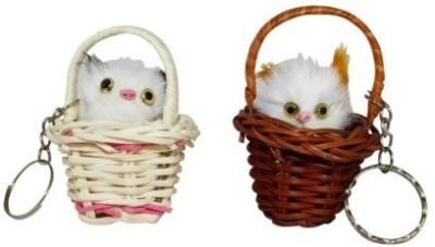 Shop & Shoppee Cute Sweet Couple Kitty Sitting in Basket Key Chain