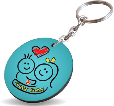 SKY TRENDS Happy Rakhi Bule Hug Red Heart Gifts For Sister And Brother For Happy Rakshabandhan Wood Circle Key Chain