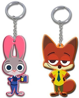 Bidheaven Zootopia Police Rabbit Judy Hopps and Fox Nick Wilde Key Chain