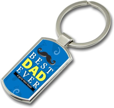 SKY TRENDS Best Dad Ever I Love You Dad With Round Mustaches Gifts For Father,s Day Rectangle Metal Key Chain