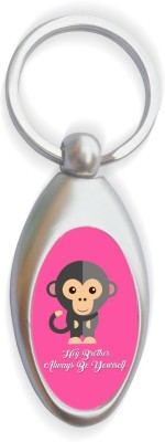 SKY TRENDS Hey Brother Always Be Yourself With Monkey Black Funny Face Gifts Round Metal Key Chain