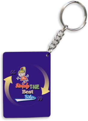 SKY TRENDS GIFT Sky Trends Simply The Best Sister,, Violet Design Gifts For Happy Rakshabandhan Wood Rectangle Key Chain