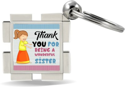 SKY TRENDS Thank You For Being A Wonderful Sister With Designer Lines Multicolor And Smile Face Gifts For Brother And Sister For Happy Rakshabandhan Metal Diamond Key Chain