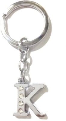 99DailyDeals R45 Alphabet K Chrome Metal Finish with 4 Diamonds Fixed Keyring Key Chain