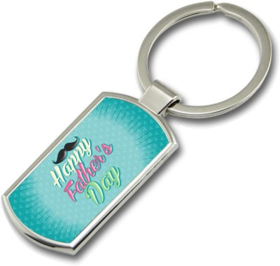 SKY TRENDS Happy Father,s Dad With Mustaches Gifts For Father,s Day Rectangle Metal Key Chain