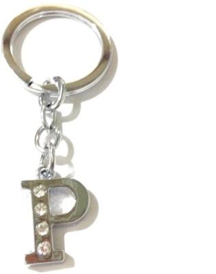 Anishop Diamond Fixed Alphabet P Chrome Metal Finish Keyring Key Chain