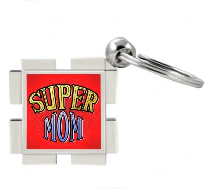 SKY TRENDS GIFT Super Mom Metal Square Key Chain