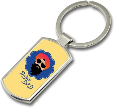 SKY TRENDS Punjabi Dad With Sardar Gifts For Dad Father,s Day Rectangle Metal Key Chain