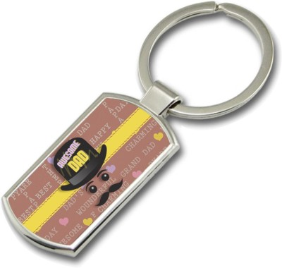 SKY TRENDS Awesome Dad With Cap Gifts For Dad Father,s Day Rectangle Metal Key Chain