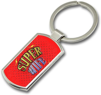 SKY TRENDS GIFT Super Wife Metal Rectangle Key Chain