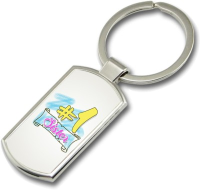 SKY TRENDS No.1 Sister With Shading Name White Background Color Gifts For Brother And Sister For Happy Rakshabandhan Metal Rectangle Key Chain