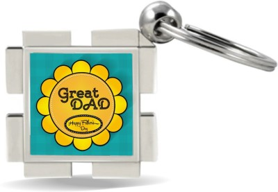 SKY TRENDS GIFT Great Dad Happy Father's Day With Yellow Flower Gifts For Father's Day Metal Key Chain