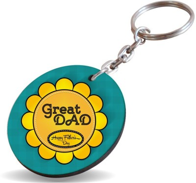 SKY TRENDS GIFT Great Dad Happy Father's Day With Yellow Flower Gifts For Father's Day Key Chain