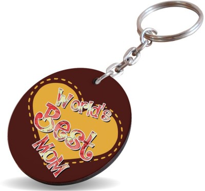 SKY TRENDS GIFT World Best Mom Gifts Wooden Circle Key Chain