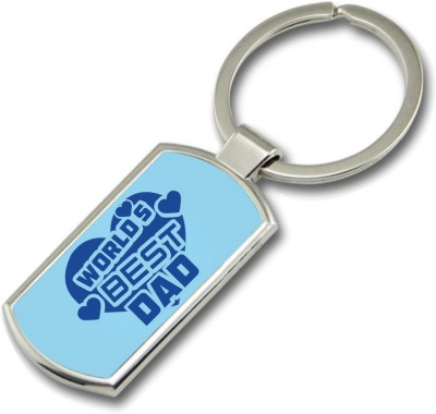 SKY TRENDS World ,s Best Dad With Blue Heart Gifts For Father,s Day Rectangle Metal Key Chain