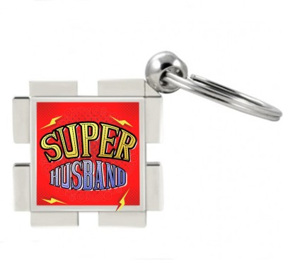 SKY TRENDS GIFT Super Husband Metal Square Key Chain
