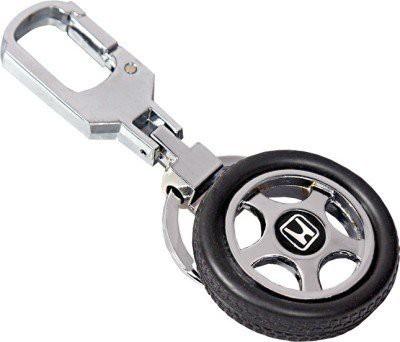 Shop & Shoppee Rotating Tyre Shaped Honda Logo Keyring with Metal Locking Key Chain