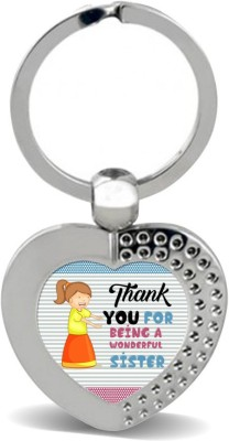 SKY TRENDS Thank You For Being A Wonderful Sister With Designer Line Colorful Gifts For Brother And Sister For Happy Rakshabandhan Metal Heart Key Chain