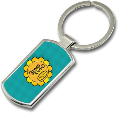 SKY TRENDS Great Dad Happy Father,s Day With Yellow Flower Gifts For Father,s Day Rectangle Metal Key Chain