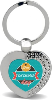 SKY TRENDS GIFT Happy Father's Dad With Background Color Green Happy Fatrher's Day Heart Metal Key Chain