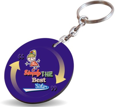 SKY TRENDS Simply The Best Sister,,Dark Violet Design Yellow Arrow Gifts Brother And Sister Happy Rakshabandhan Wood Circle Key Chain