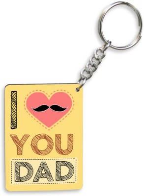 SKY TRENDS GIFT I Love You Dad With Pink Heart And Mustaches Unique Gifts For Dad Father's Day Key Chain