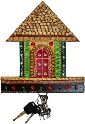 eCraftIndia Papier-Mache Traditional Village Hut 5 Hooks Wooden Key Holder(5 Hooks, Green, Gold)