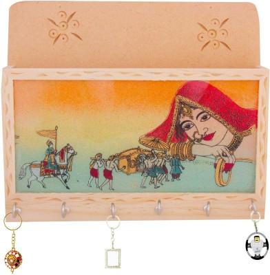 Indigocart Gemstone Painting Key Magazine Holder Gift Wooden Key Holder