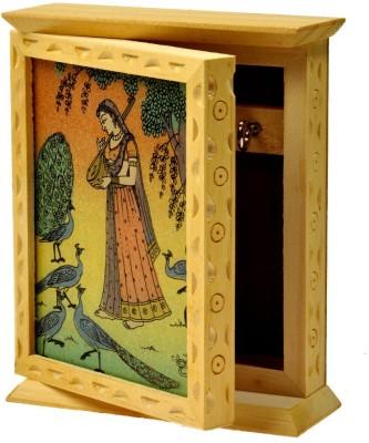 Little India Rajasthani Gemstone Painting -118 Wooden Key Holder
