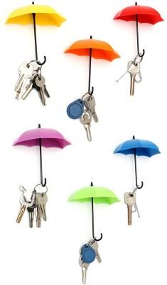Goodbuy 6 pcs Umbrella Style Clothes Hat Wall Hanger Hooks for Bathroom Kitchen Plastic Key Holder